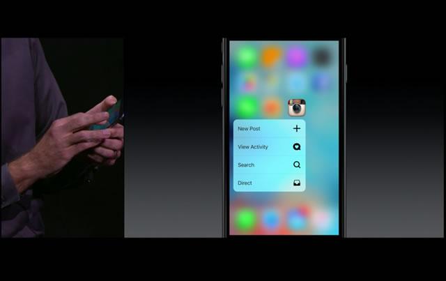 3D Touchで開くサブメニュー