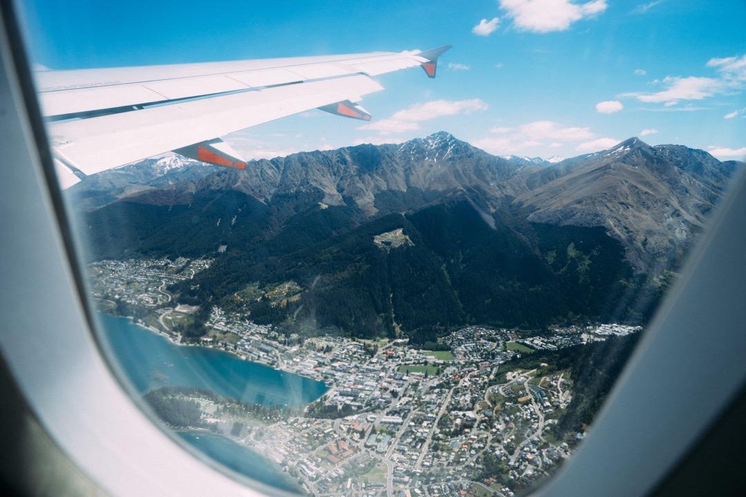 帰りの飛行機から見えたクイーンズタウン