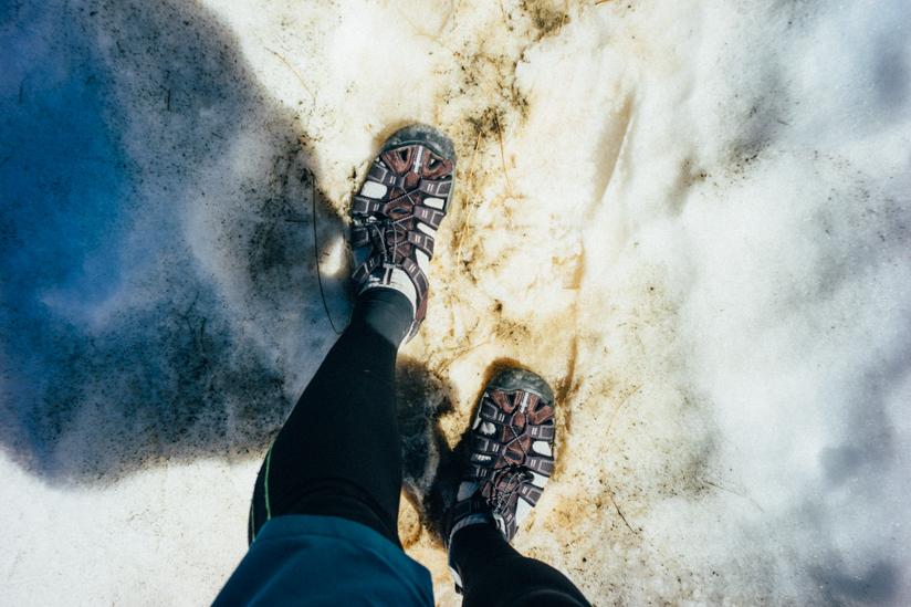雪道を歩いた