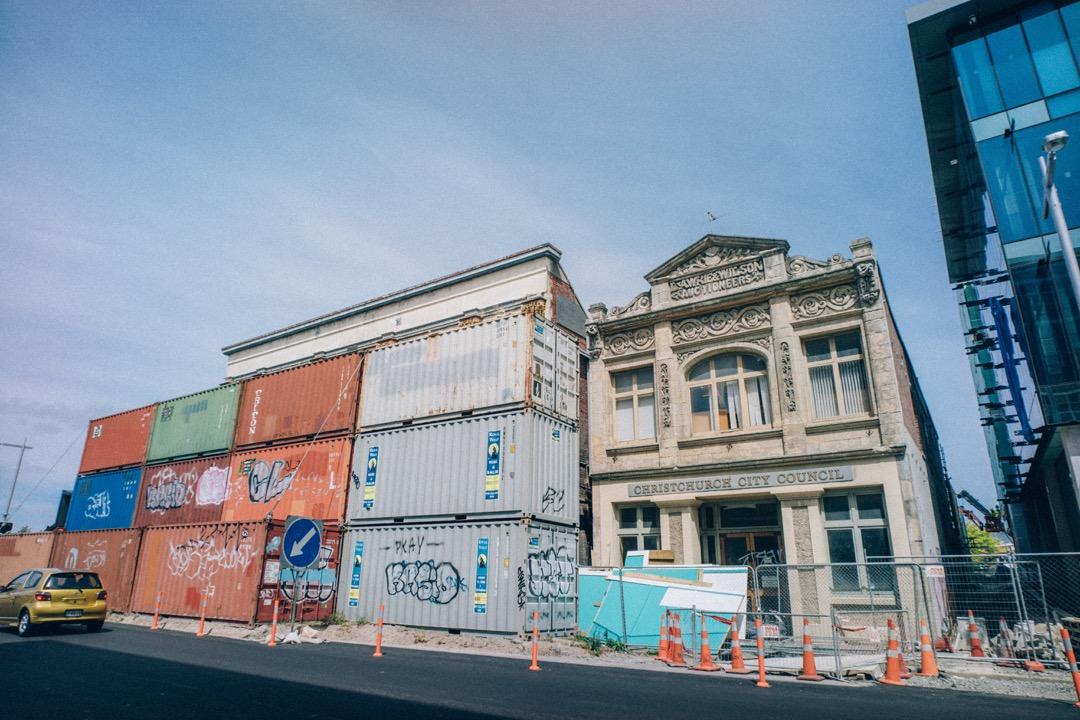 クライストチャーチの町中はまだまだ復興工事中