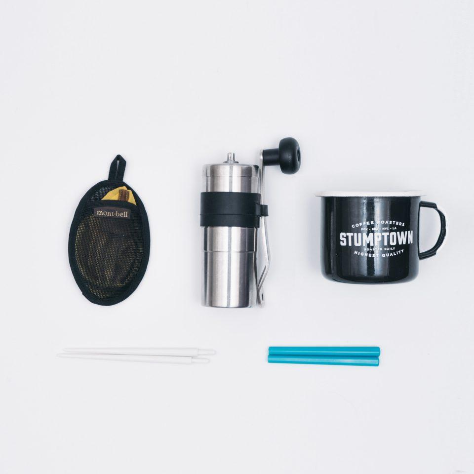 コーヒーセット(mont-bell O.D.コンパクトドリッパー、POLEX MINI COFFEE GRINDER、stumptown coffee カップ、折りたたみ箸)